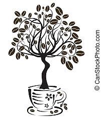 arbre, café, vecteur, tasse