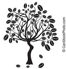 arbre, café, vecteur