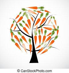 arbre, carotte, isolé, illustration, vecteur, fond, blanc