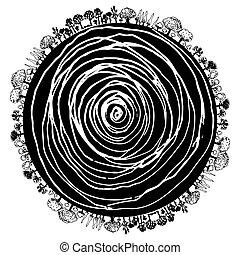 arbre, cercle, racine, icône