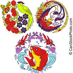 arbre, classique, emblème, oiseau, chinois