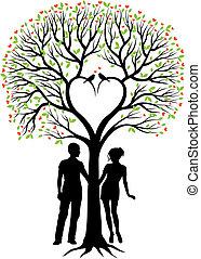 arbre, coeur, couple, vecteur