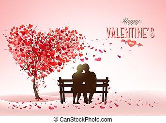 arbre, concept, amour, vacances, fond, jour, valentine, love., couple, vecteur, coeur, bench., forme