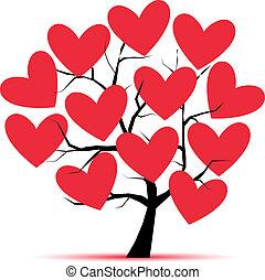 arbre, conception, amour, ton, cœurs