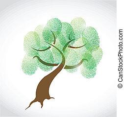 arbre, conception, famille, illustration, empreinte doigt