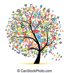 arbre, conception, ton, numérique