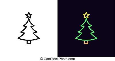 arbre, contour, editable, année, linéaire, noël, silhouette, nouveau, icône, stroke., étoile