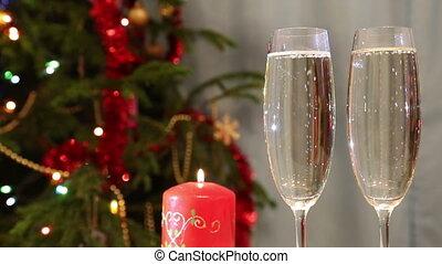 arbre, contre, fond, bougie, champagne, noël, lunettes