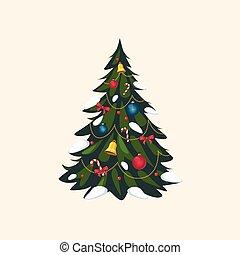 arbre, décoré, vecteur, noël, illustration