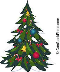 arbre, décoré, vecteur, noël