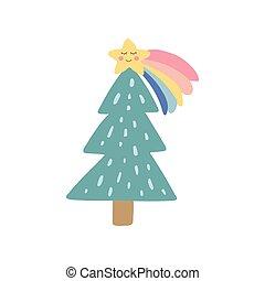 arbre, dessiné, planner., star., conception, main, mignon, crèche, sticker., arbre., quotidiennement, vecteur, element., douche, branché, illustration, icon., arc-en-ciel, gosses, bébé, vacances, noël