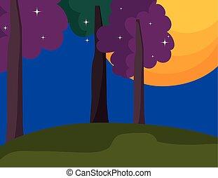 arbre, dessin animé, lune, étoiles, nuit, paysage
