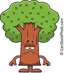 arbre, dessin animé, malade