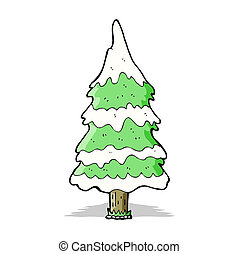 arbre, dessin animé, neigeux