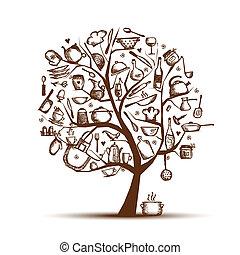 arbre, dessin, ton, art, ustensiles, croquis, conception, cuisine