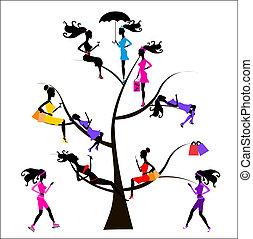 arbre, différent, sociology, filles