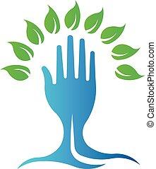 arbre., eco, symbole, main, vecteur, vert, logo