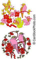arbre, emblème, oiseau, chinois, classique