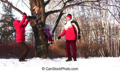 arbre, enfants, famille