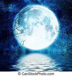 arbre, entiers, branches, contre, lune