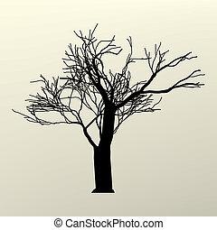 arbre, eps, illustration, silhouette., branche, 8