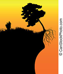 arbre, falaise