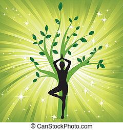arbre, femme, yoga, asana