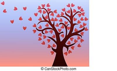 arbre, feuilles, amour, hearts.