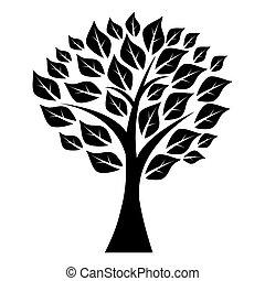 arbre, feuilles, silhouette