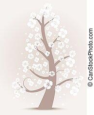 arbre, fleur, silhouette