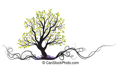 arbre, fleurs, vecteur, racine