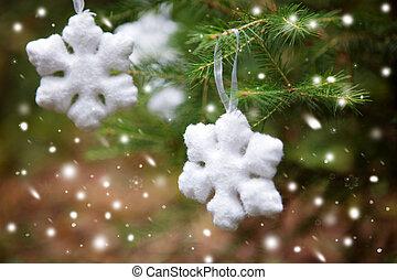 arbre, flocon de neige, noël