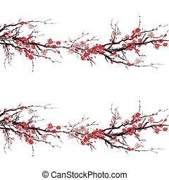 arbre, fond, isolé, modèle, seamless, cerise, vecteur, japonaise, fleur, réaliste, -, blanc, sakura