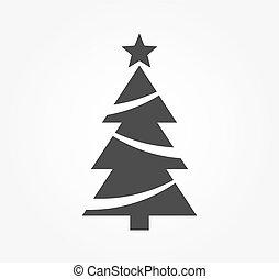 arbre, forme, étoile, icon., noël