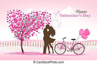 arbre, forme coeur, jour, valentine, couple, fond, love., vector.