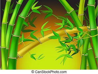arbre, frais, bambou, forêt verte, dessin animé