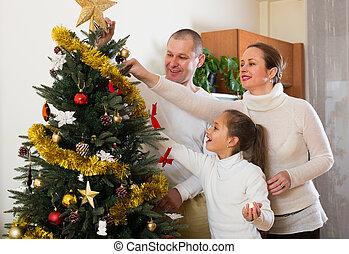 arbre généalogique, décorer, noël