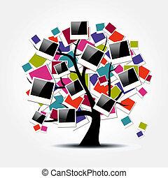 arbre généalogique, mémoire, polaroid, armatures photo