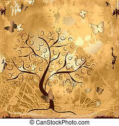 arbre, grunge, fond