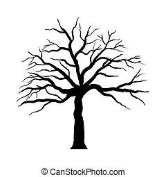 arbre, halloween, dessin animé
