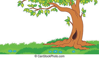 arbre, herbeux, paysage