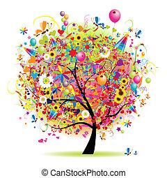 arbre, heureux, vacances, rigolote, ballons