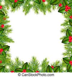 arbre hiver, baie, houx, frontière, noël