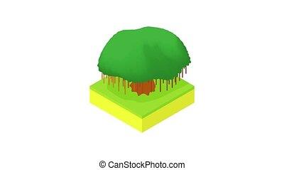 arbre, icône, animation