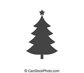 arbre, icon., forme, étoile, noël
