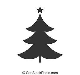 arbre, icon., noël, forme étoile