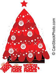 arbre, isolé, décoration, retro, noël blanc