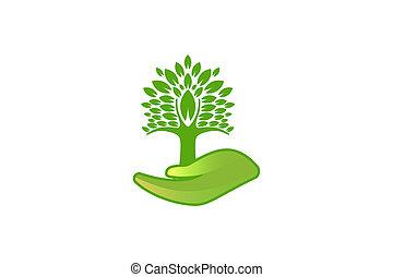 arbre, isolé, fond, logo, blanc, inspiration, soin