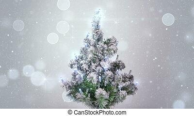 arbre, loopable, argent, lumières, scintillements, noël