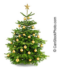 arbre, luxuriant, ornements, or, noël